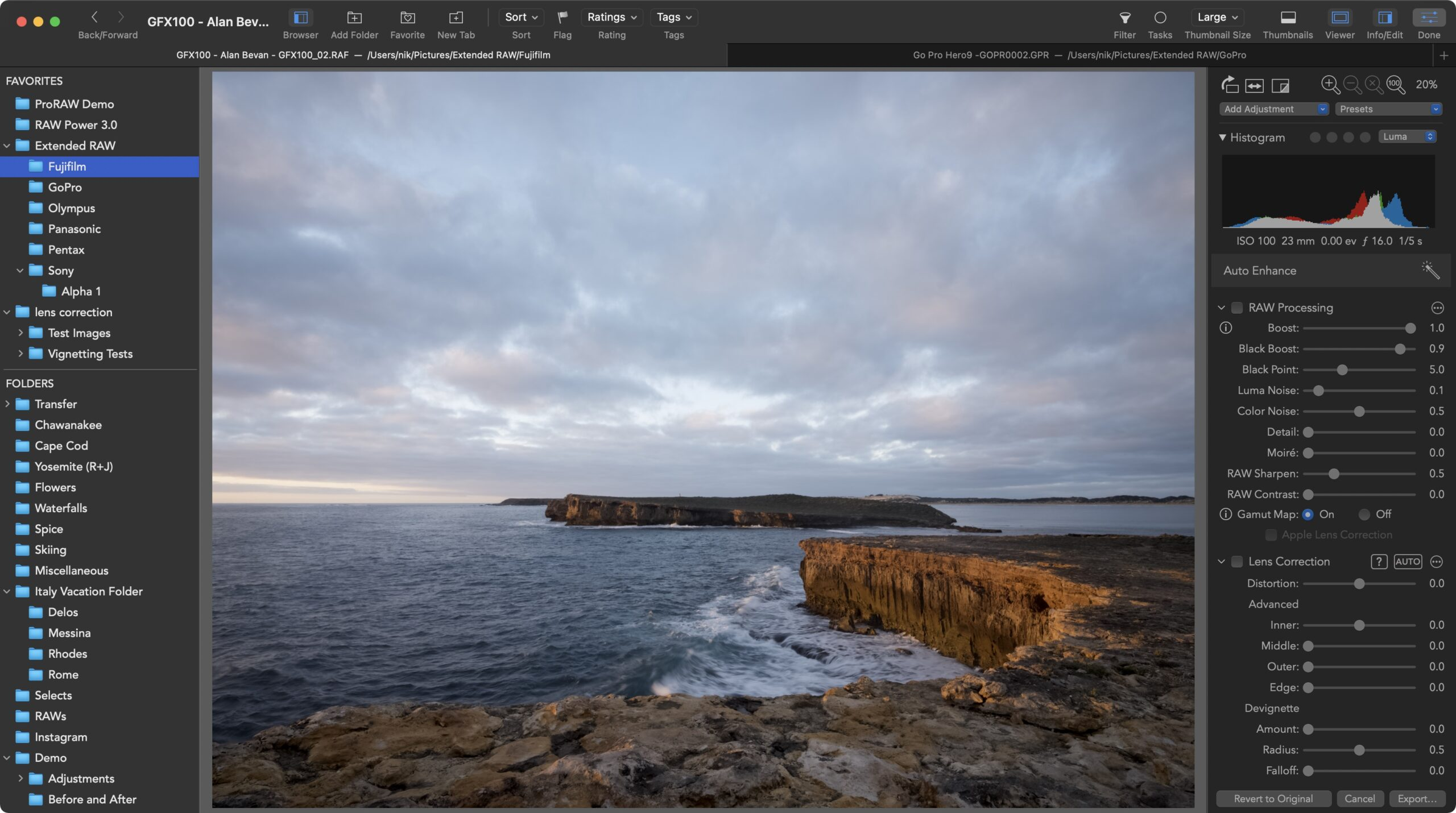 Here is Extended RAW in action showing a Fujifilm GFX100 image with full RAW editing sliders