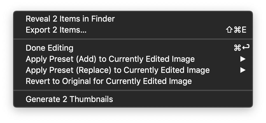 Edit Mode Batch Processing Menu
